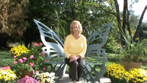 gayle in butterfly chair... yellow sweater
